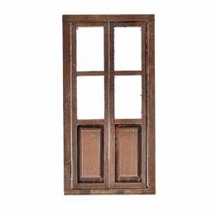 Porte 2 volets en bois pour crèche 17x8 cm s1