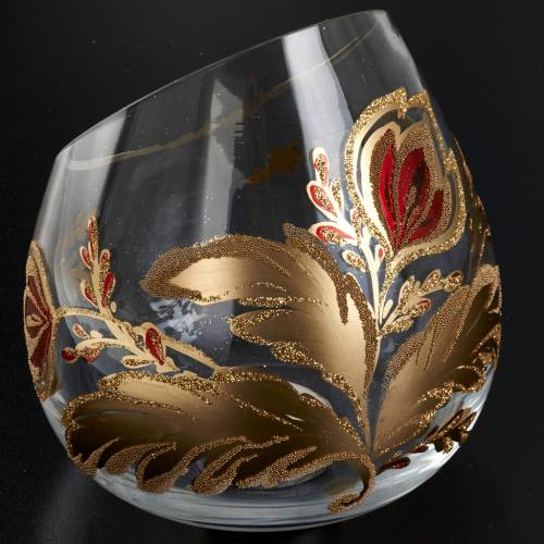 Porte bougie de Noel en verre décorations dorées s6