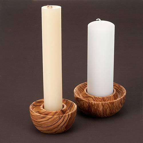 Porte bougie pour autel en bois d'olivier s2