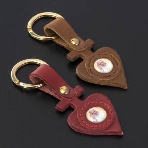 Porte clé cuir Pape Francois coeur s2