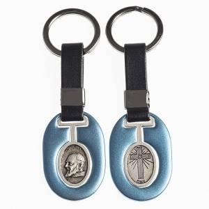 Porte-clés: Porte clef Père Pio métal avec bande