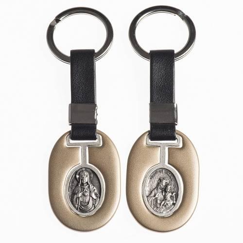 Porte clef Sacré Coeur et Virgo Carmeli en métal s1