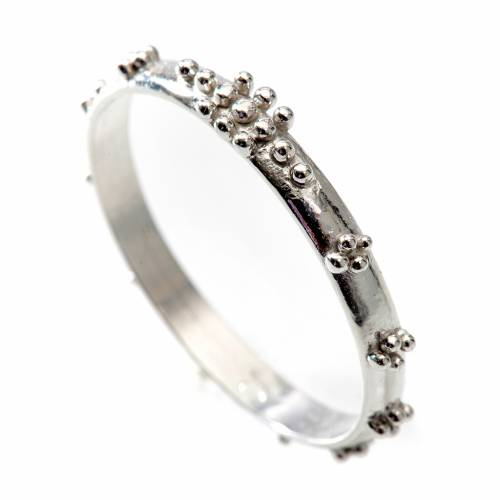 Prayer ring single decade in 800 silver with grains s1