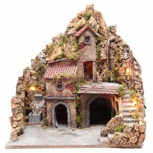Presepe Napoletano: Presepe legno sughero con fontana presepe napoletano 53x50x40 cm