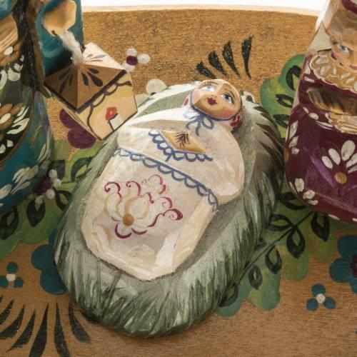Presepe russo stilizzato legno abete con archetto s2