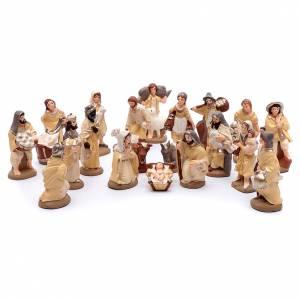 Presepe terracotta dipinta 20 statuine 10 cm s1