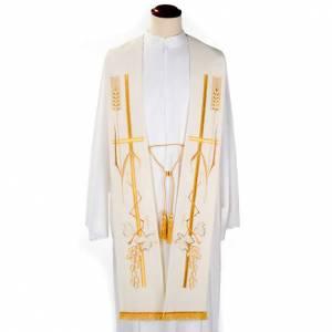 Priesterstolen: Priesterstola goldene Trauben Kreuz und Ähre