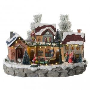 Pueblos navideños en miniatura: Pueblo Navideño en miniatura invernal con trenecito en movimiento