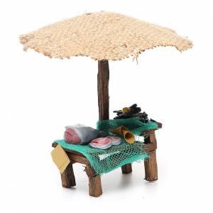 Puesto de mercado para belén con sombrilla, pez y mejillones 16x10x12 cm s3