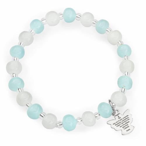 Pulsera AMEN para niños perlas de Murano aguamarina blanca plata s1