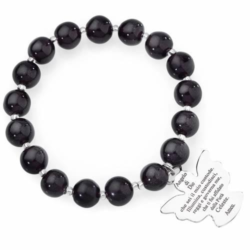Pulsera AMEN perlas morado oscuro de Murano 10 mm. plata 925 s1