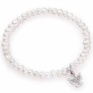 Pulseras AMEN: Pulsera AMEN perlas redondas plata 925 4/5 mm.