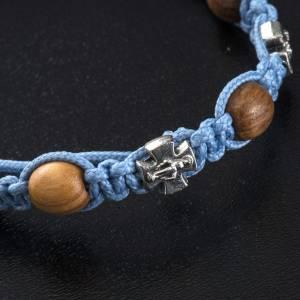 Pulsera decena Medjugorje cuerda azul cuentas olivo s4
