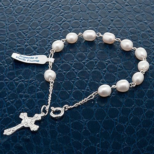Pulsera decena plata 800 y perlas de río s4