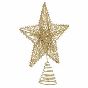 Puntale 25 cm Stella per Albero di Natale colore dorato s2
