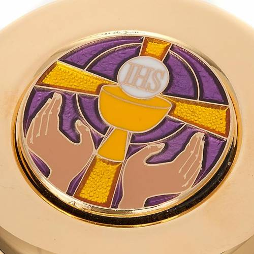Pyx for big hosts with enameled IHS symbol s3