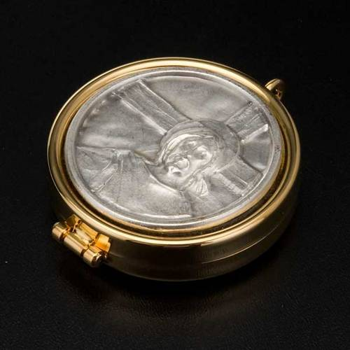Pyx with Jesus and cross plate in pewter s3