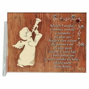 Decori natalizi per la casa: Quadretto angelo che suona augurio 8,5x10 cm