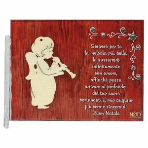 Decori natalizi per la casa: Quadretto angelo frase 8,5x10 cm clarinetto