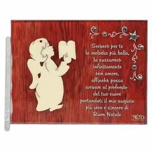 Decori natalizi per la casa: Quadretto angelo libro frase 8,5x10 cm