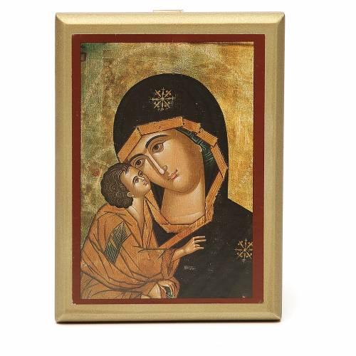 STOCK Quadretto Madonna Tenerezza bordo oro 14x11 cm s1