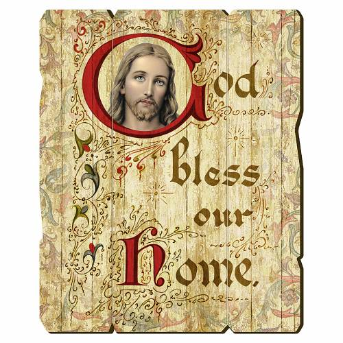 Quadro in Legno Sagomato gancio retro God Bless Our Home 35x30 s1