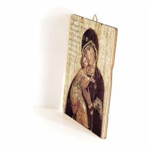 Quadro in Legno Sagomato gancio retro Icona Madonna di Vladimir 35x30 s2
