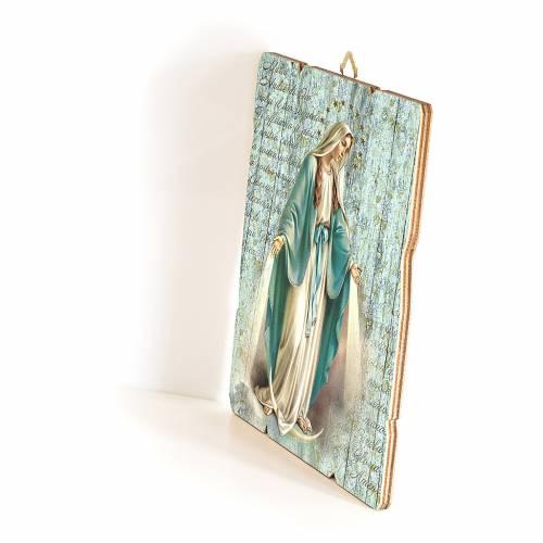 Quadro in Legno Sagomato gancio retro Madonna Miracolosa 35x30 s2