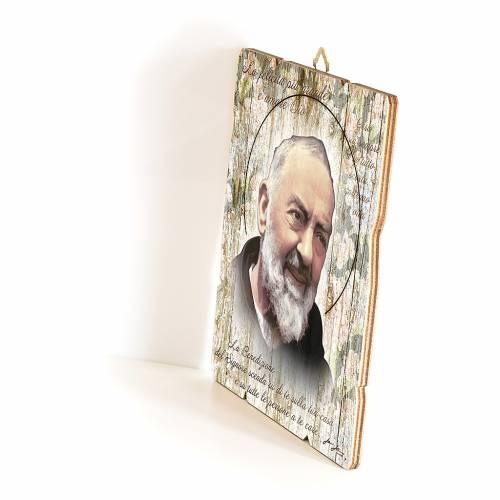Quadro in Legno Sagomato gancio retro Padre Pio 35x30 s2