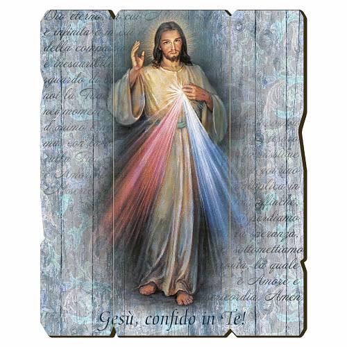 Quadro in Legno Sagomato Gesù Misericordioso 35x30 s1