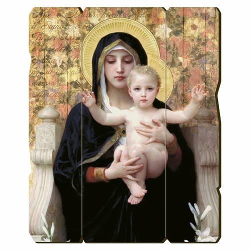 Quadro legno sagomato gancio retro Vergine del Giglio s1