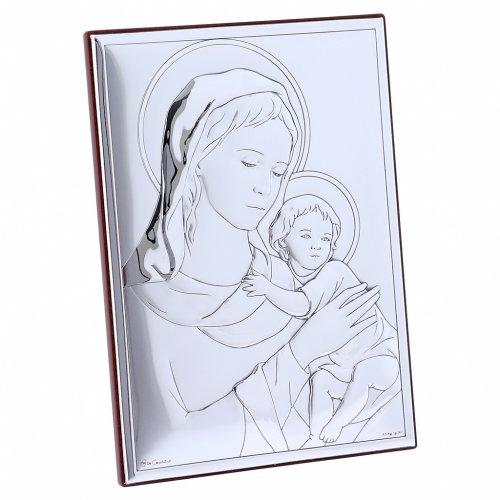 Quadro Madonna bimbo bilaminato con retro in legno pregiato 18X13 cm s2