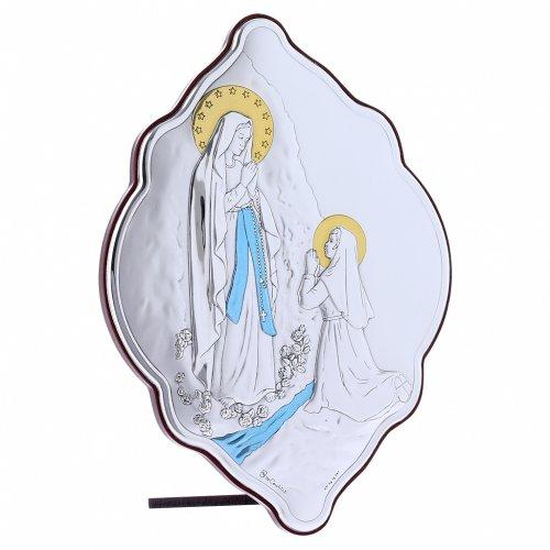Quadro Madonna di Lourdes in bilaminato con retro in legno pregiato 21X14 cm s2
