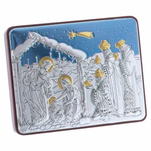 Quadro Natività con Magi in alluminio finiture oro 4,8X6,4 cm s2