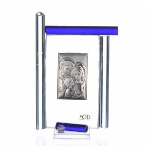 Bomboniere e ricordini: Quadro S. Famiglia Arg. e vetro Murano blu h.9