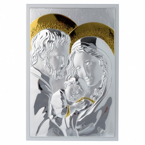 Quadro Sacra Famiglia rettangolare argento tavola bianca s1