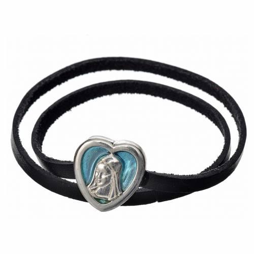 Ras-de-cou cuir noir image Vierge Marie émail bleu clair s1