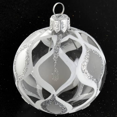 Árbol Navidad, bola de vidrio transparente plateada con g s2
