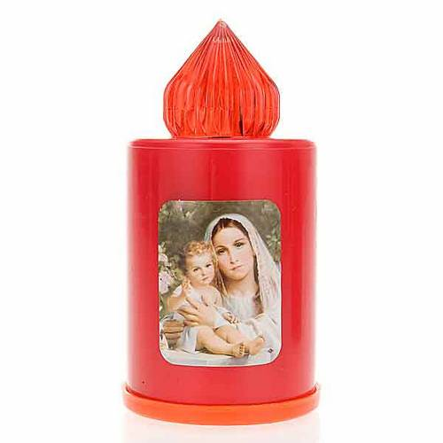 Red LED votive candle with image, 100 days s3