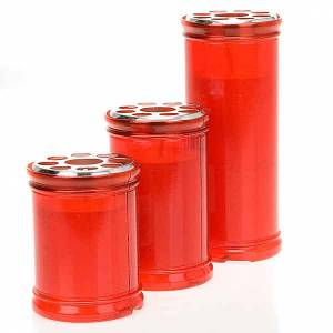 Votive candles: Red votive candle with white wax