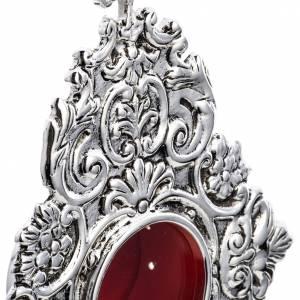 Reliquiario in ottone fuso argentato decori s4