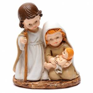 Nativity sets: Resin Holy family 10 cm with light children collection