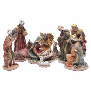 Resin and Fabric nativity scene sets: Resin nativity set measuring 21.5cm, 10 figurines