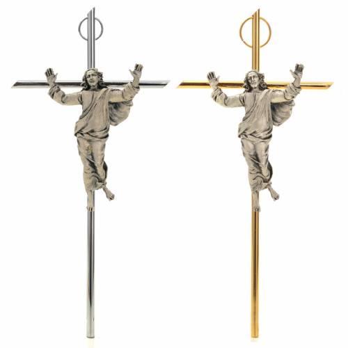 Resurrected Christ, silver metal wall crucifix s1