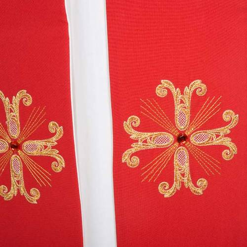 Reversible liturgical stole white red, cross and glass stones s6