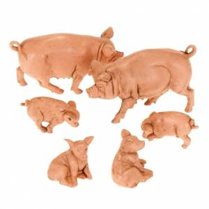 Zwierzęta do szopki: Rodzina świń do szopki 10 cm 6 sztuk