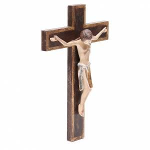 Romanesque crucifix, antique gold Valgardena wood 65cm s4