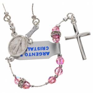Rosario argento 800 e cristallo rosa s1