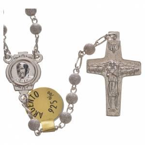 Rosari argento: Rosario Argento 925 croce Buon Pastore Papa Francesco 4 mm