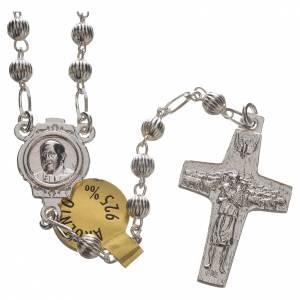 Rosari argento: Rosario Argento 925 Papa Francesco 4 mm